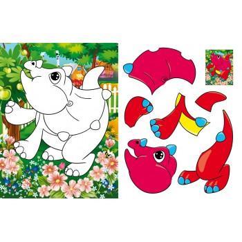 Аплікації + розмальовки. Веселі динозаврики. (код 371-8)